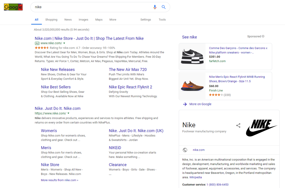 An example of paid search marketing in google search results.