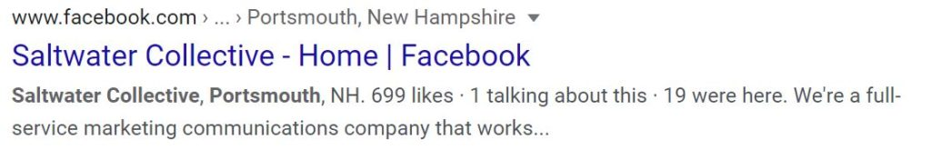 Google interacts with Facebook to pull in information like Page Name, Location, Likes, Description, and more to display in organic search results.