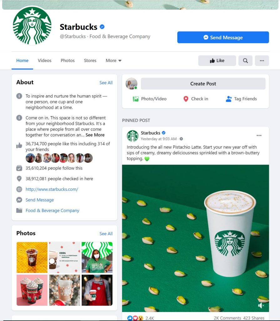 See how Starbucks utilizes the Pinned Post feature on its own Facebook page.