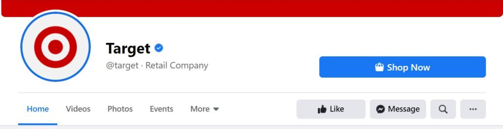 See how Target's username shows up on its Facebook page.